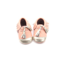 New Design Pink Moccasins Leather Baby Shoes