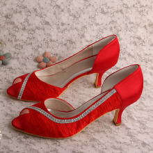 Discount Price Pet Film for Satin Bridal Shoes Wedopus Red Wedding Shoes for Bride supply to Indonesia Wholesale