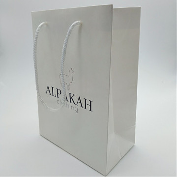 Elegant Custom Logo Gift Packing White Paper Bags