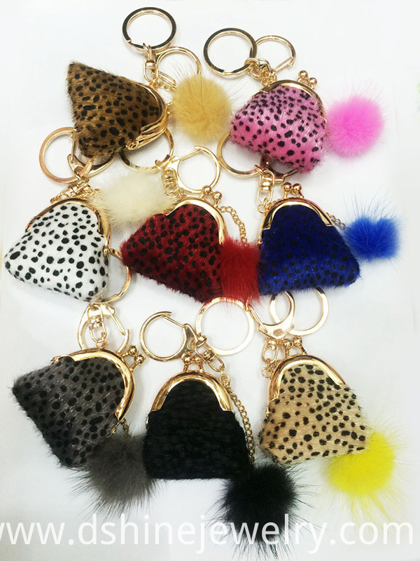 Tiny Mink Fur Ball Keychains
