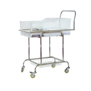Stainless Steel New Born Baby Cot Bed Cart With Bassinet