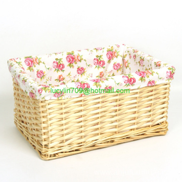 Hand-woven Wicker Willow Storage Baskets Nesting Organizer w/ Lining