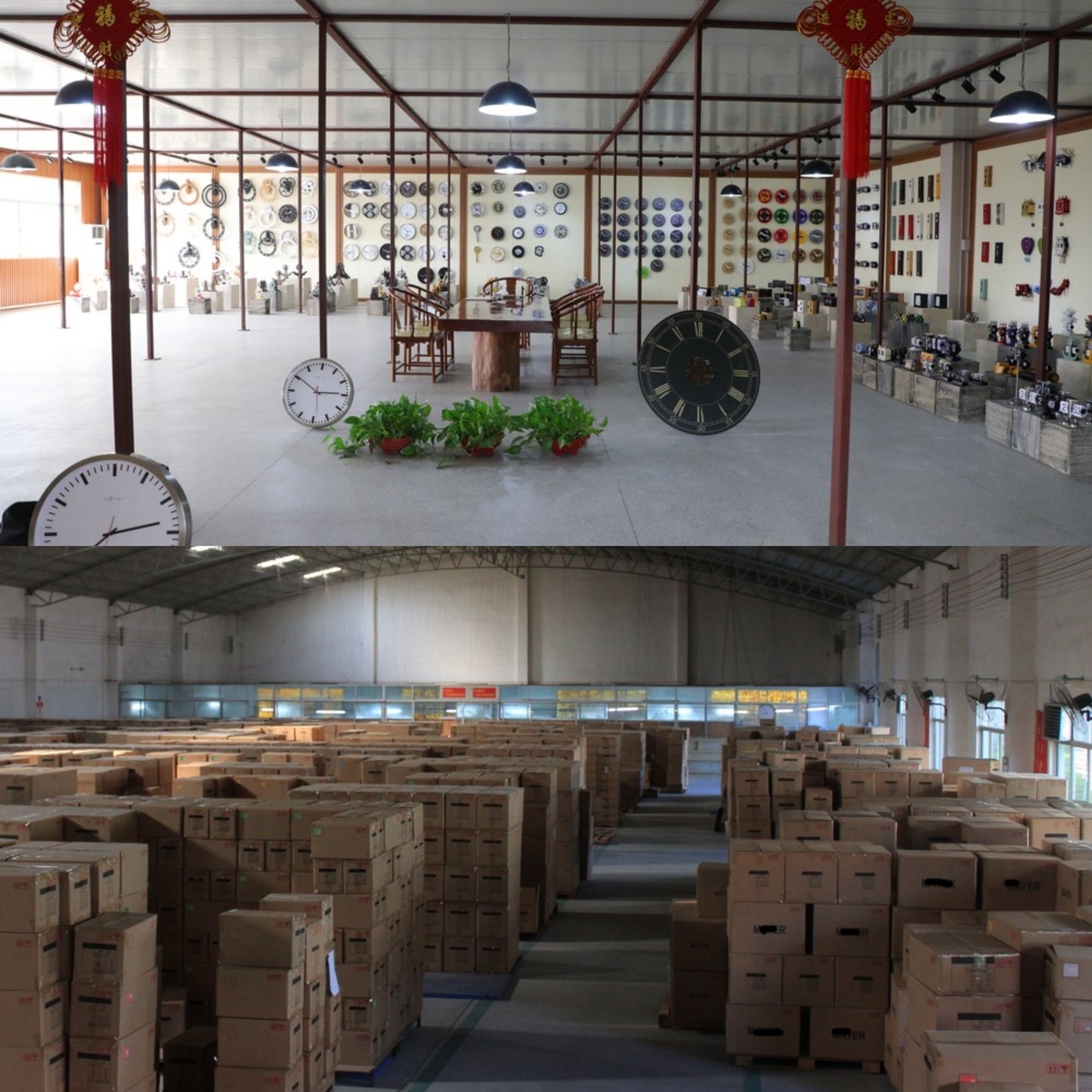 white clock showroom & warehouse