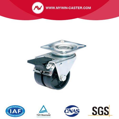 Braked Plate Twin Wheel PA Caster