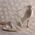Thin Heel Ivory Bridal Lace Shoes Sandals