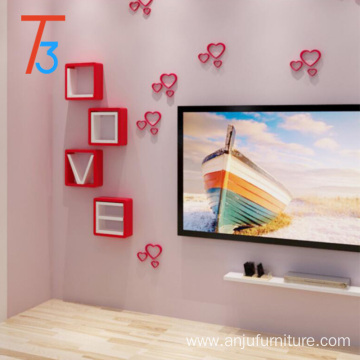 modern handmade colorful hanging wooden wall shelf