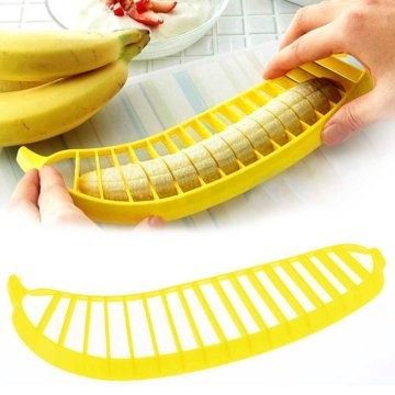 Yellow commercial manual vertical banana chips slicer