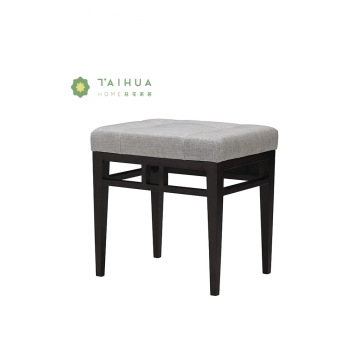 Black Solid Wood Dresser Stool with Grey Cushion