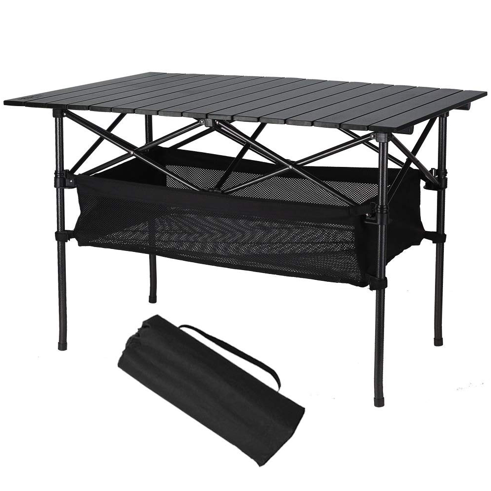 Aluminum Travel Table With Storage Basket