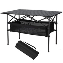 Aluminum Collapsible Travel Table with Storage Basket