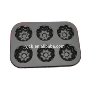 Carbon Steel 6-Cup Octangle Floral Cake Mold
