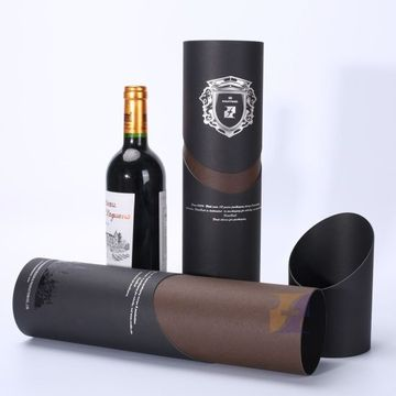 Custom Printed Gift Boxes Cylinder Paper Wine Packaging