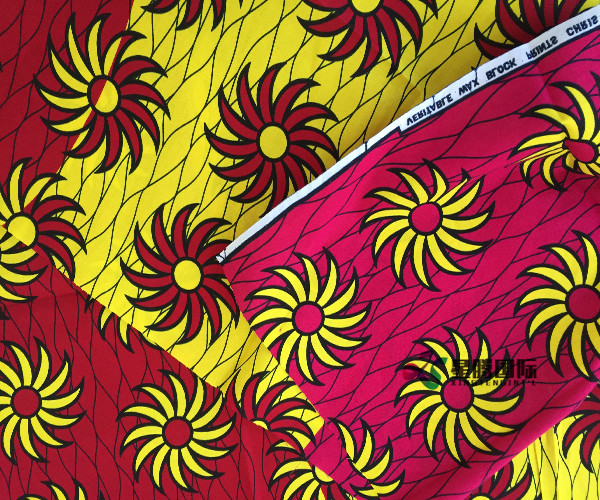 Cotton Imitation Wax Prints Fabric For Upholstery