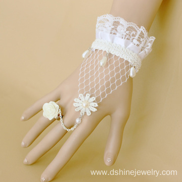 Bride Crochet Bangles With Pearl Pendant Daisy Flower Ring