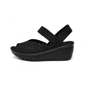 Black Fashion Women Platform Wedge Woven Sandals