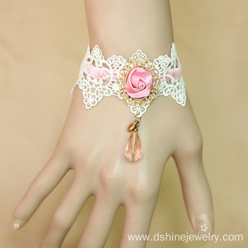 Ribbon Rose Lace Bracelet With Crystal Drop Pendant Jewelry