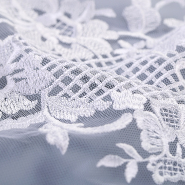 White Flower Flat Lace Embroidery Fabric