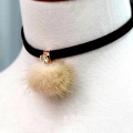 Pom Pom cuir Choker Necklace déclaration Collier Tour de cou