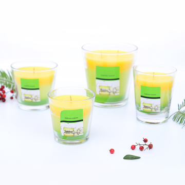 Color stratified scented wax candle with clear jars