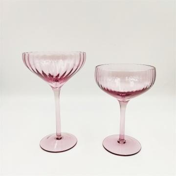 Purple color ribbed cocktail glass