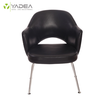 China for Stainless Steel Leather Dining Chair Elegant genuine leather Saarinen executive armchair supply to Japan Exporter