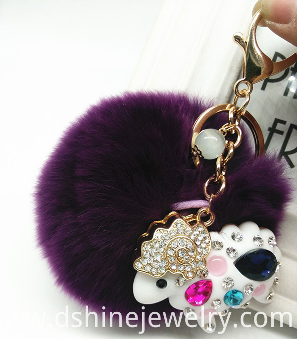 Rabbit Fur Pom Pom Ball Keychain