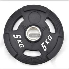 Three Holes Rubber Coated Barbell Bumper Weight Plates