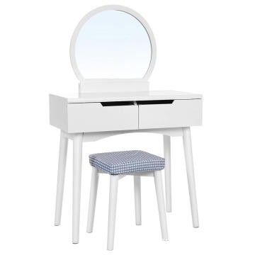 Factory Cheap Vanity Table Set with Round Mirror 2 Drawers Makeup Dressing Table with Cushioned Stool