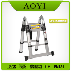 Double side aluminum telescopic ladder with big hinge