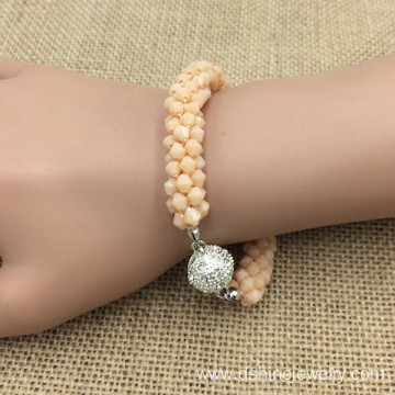 Crystal Mini Beads Rhinestone Ball Magnet Bracelet For Women