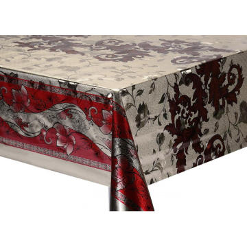 Double Face Emboss printed Gold Silver Tablecloth