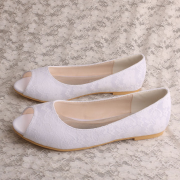 Ladies Peep Toe Flat Shoes for Bridal
