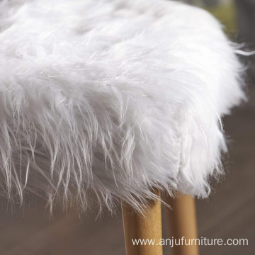 Living room stool Mid-Century Faux Fur Ottoman White