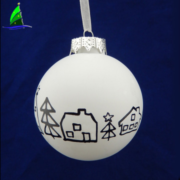 white glass blown ball shapes Christmas ornament
