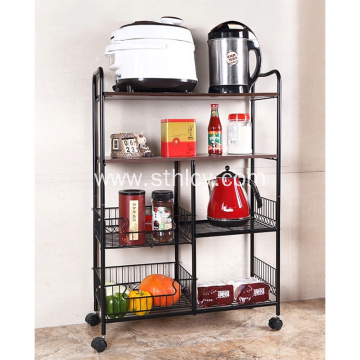 Wire Wooden Baffle Stainless Steel Storage Rack
