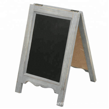 15 inch Mini Tabletop Wooden A-Frame Double-Sided Slate Chalkboard Sign Easel, Gray