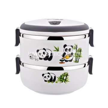 Round Stainless Steel Cartoon Multi Layer Lunch Box