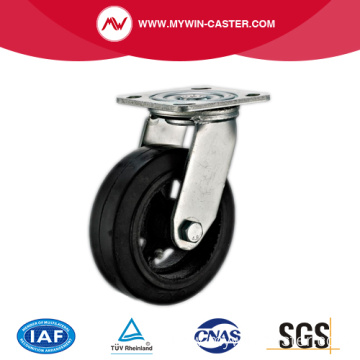 5'' Swivel Heavy Duty Black Rubber Industrial Caster with Iron Core