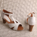 Handmade Leather Sandals White with Block Heel