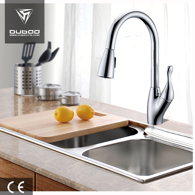One Lever Chrome Finished Faucet Tap With Sprayer