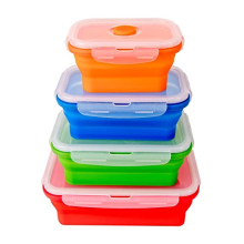 Eco-friendly 4 Size Silicone Disposable Lunch Box