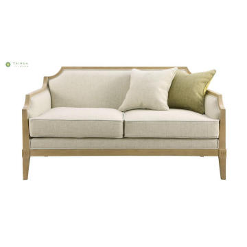 Solid Wood Frame Two Single Seat Fabric Sofa