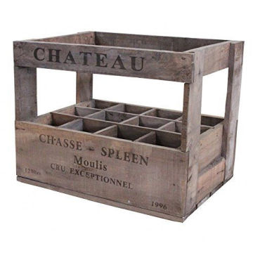 Vintage Style Wine Crate Box - 12 Bottle Wine Holder