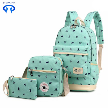 Printed canvas backpack primary school bag