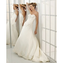 A-line Sweetheart Cathedral Train Satin Beading Wedding Dress supplier
