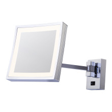 Square magnifying wall mirror with light