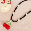 Alloy Rhinestone Cherry Charm Shamballa Beads Necklace
