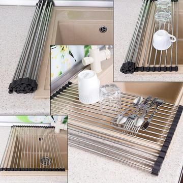 Foldable Multipurpose Stainless Steel Silicone Drain Rack