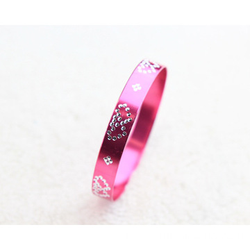 Supply for Thin  Aluminum Bangle Double Heart Copy Rhinestone Alloy Aluminum Jewelry Bangle export to Bulgaria Factory