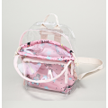 Pink transparent cartoon print backpack